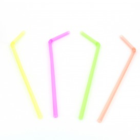 Pajita Flexible en Color Fluorescente Ø5mm 23cm (1000 Uds)