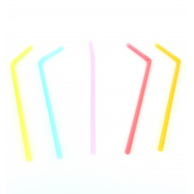 Pajita Flexible Fluorescente para Bebidas Ø5mm 24cm (50 Uds)