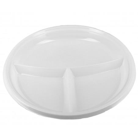 Plato de Plastico 3 Compartimentos Blanco 220 mm (6 Unidades)