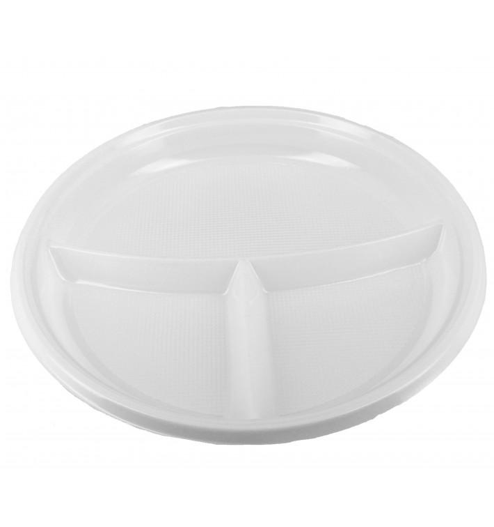 Plato de Plastico Hondo 3 Compartimentos 220 mm (360 Uds)