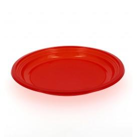 Plato de Plastico Llano Rojo 205mm (10 Uds)