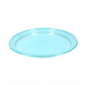 Plato llano de plastico ps azul 205mm