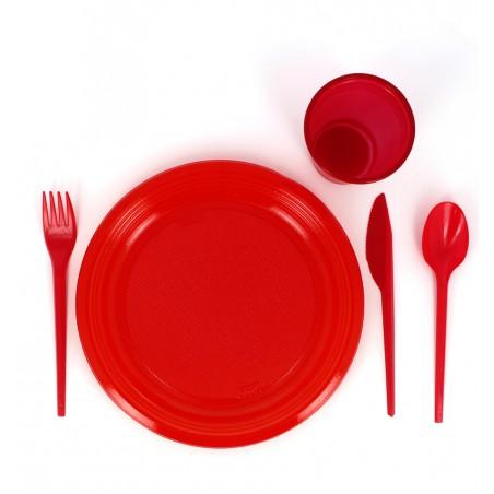 Tenedor de Plastico PS Rojo 165 mm (15 Uds)