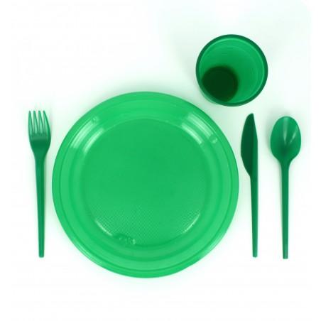 Tenedor de Plastico PS Verde 165 mm (15 Uds)