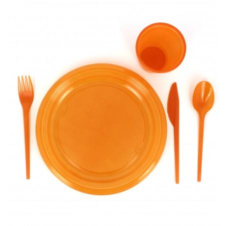 Tenedor de Plastico PS Naranja 165 mm (900 Uds)