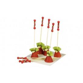Pinchos de Bambú Decorados Rojo 120mm (100 Uds)