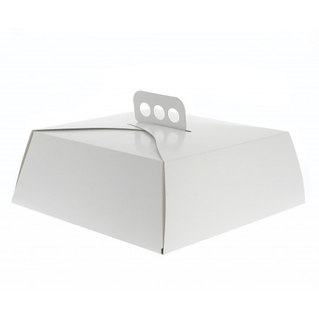Caja de Cartón Blanca Tarta Cuadrada 24x24x10 cm (50 Uds)
