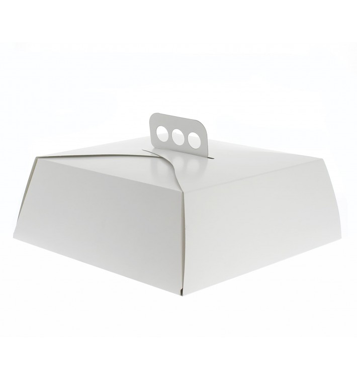 Caja de Cartón Blanca Tarta Cuadrada 27x27x10cm (50 Uds.)