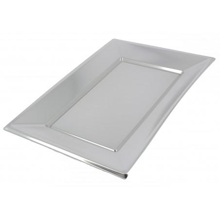 Bandeja de Plástico Plata 330x225mm (60 Uds)