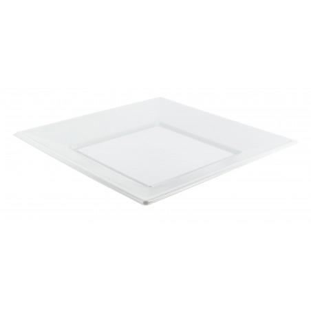 Plato de Plastico Llano Cuadrado Blanco 230mm (375 Uds)