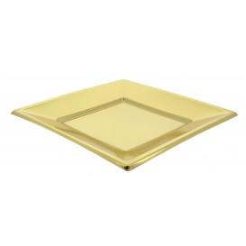 Plato de Plastico Llano Cuadrado Oro 230mm (90 Uds)