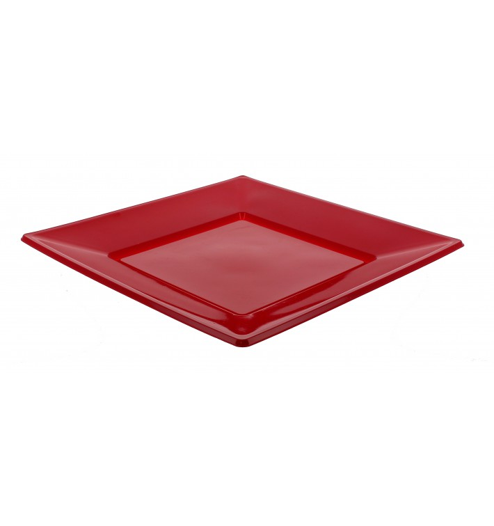 Plato de Plastico Llano Cuadrado Rojo 170mm (25 Uds)