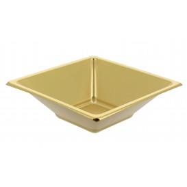 Bol de Plástico PS Cuadrado Oro 12x12cm (5 Uds)