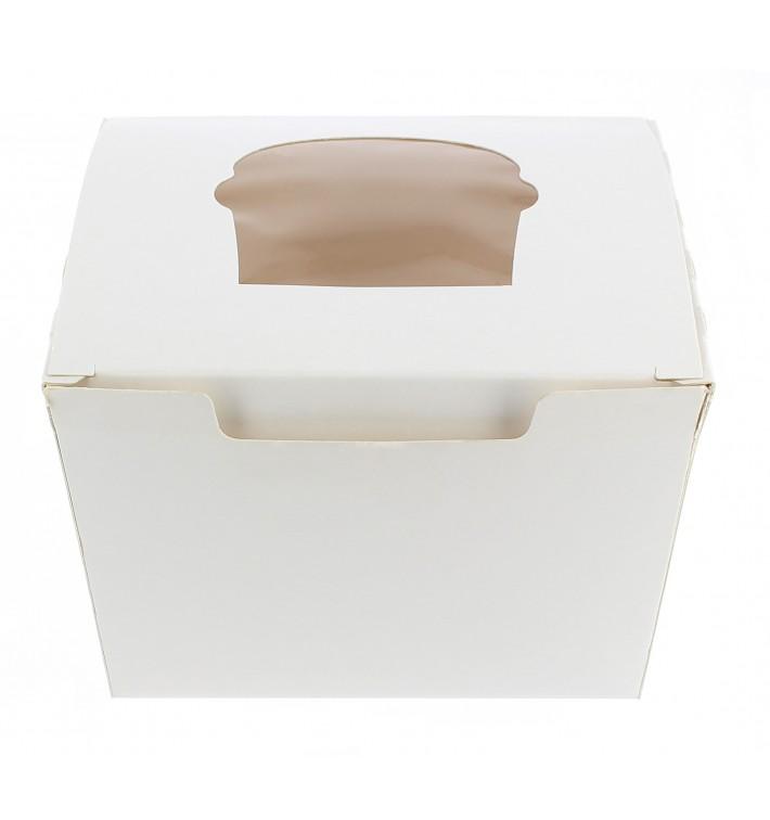 Caja 1 Cupcake con Soporte 11x10x7,5cm Blanca (20 Uds)