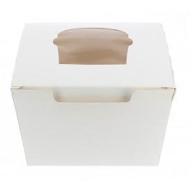 Caja 1 Cupcake con Soporte 11x10x7,5cm Blanca (200 Uds)