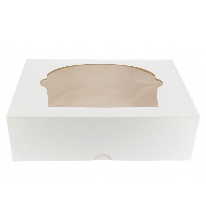 Caja 6 Cupcakes con Soporte 24,3x16,5x7,5cm Blanca (20Uds)