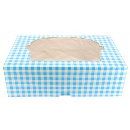 Caja 6 Cupcakes con Soporte 24,3x16,5x7,5cm Azul (20 Uds)