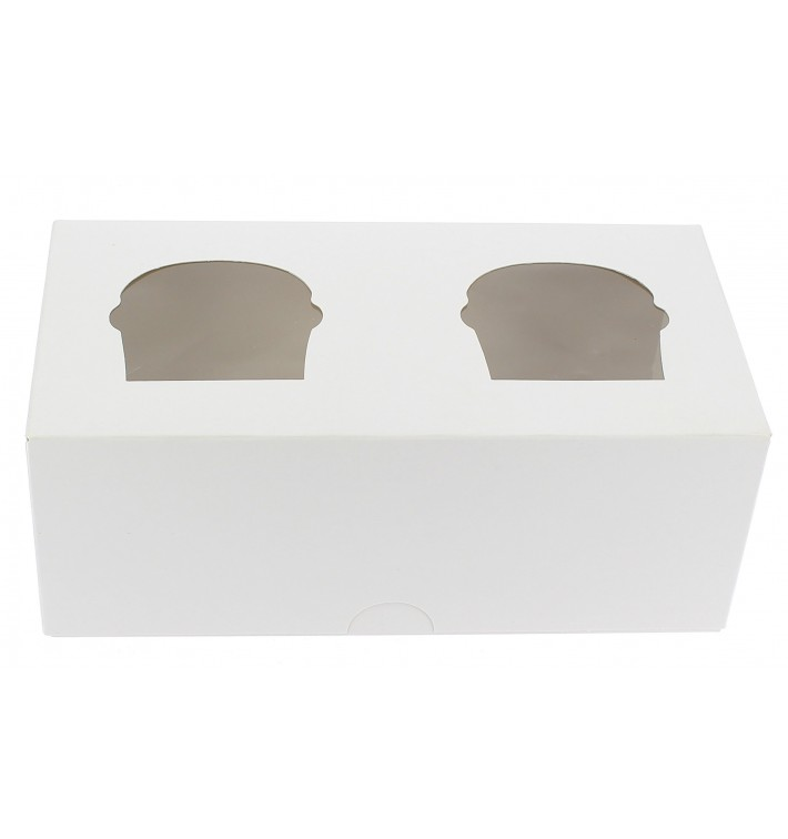 Caja 2 Cupcakes con Soporte 19,5x10x7,5cm Blanca (20 Uds)
