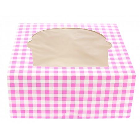 Caja con Soporte para 4 Cupcakes Rosa B-20 (Cajas de 140 Uds)