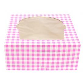 Caja 4 Cupcakes con Soporte 17,3x16,5x7,5cm Rosa (140 Uds)