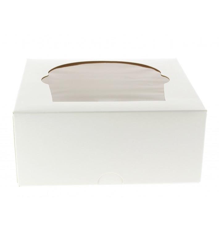 Caja 4 Cupcakes con Soporte 17,3x16,5x7,5cm Blanco (20 Uds)