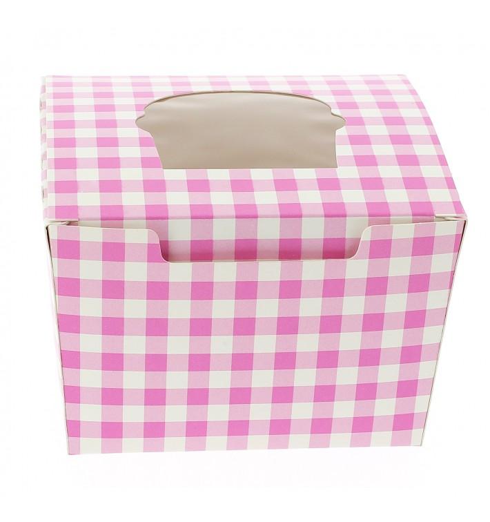 Caja 1 Cupcake con Soporte 11x10x7,5cm Rosa (200 Uds)