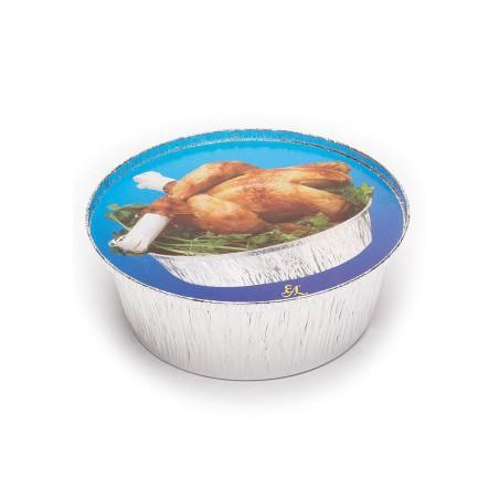Tapa Cartón Envases Redondo para Pollo con uñero 1900ml (125 Uds)