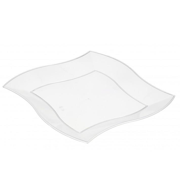Plato de Plastico Llano Cuadrado Ondas Blanco 230 mm (5 uds)