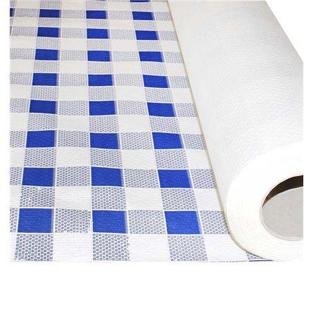 Mantel de Papel Rollo Cuadros Azules 1x100m. 40g (1 Ud)