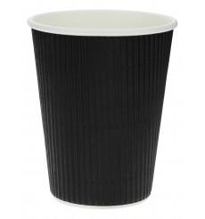 """Vaso Cartón 12 Oz/300ml """"Rizado"""" Negro Ø8,7cm (1000 Uds)"""