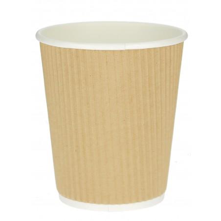 "Vaso Cartón 12 Oz/300ml ""Rizado Kraft"" Marrón Ø8,7cm (25 Uds)"