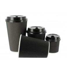 """Vaso Cartón 8 Oz/250ml """"Rizado"""" Negro Ø7,8cm (1000 Uds)"""
