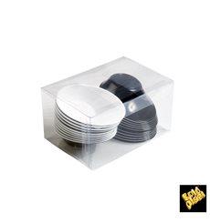"""Bol de Plástico """"Sodo"""" Blanco y Negro 50 ml (12 Unidades)"""