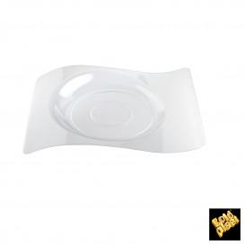 """Plato de Plastico """"Forma"""" Transparente 22x18 cm (12 Uds)"""
