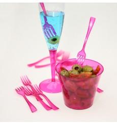 Tenedor de Plastico Premium Frambuesa 190mm (180 Uds)