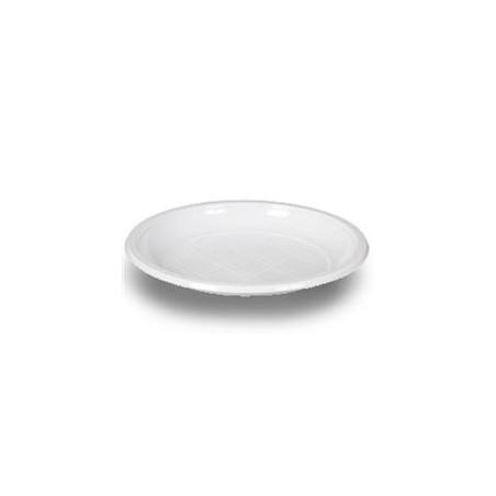 Plato Llano de Plastico PS Blanco 170 mm  (Paquete 100 unidades)