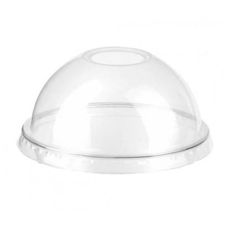 Tapa Cupula Agujero Vaso PET 9Oz/265ml Ø7,5cm (50 Uds)