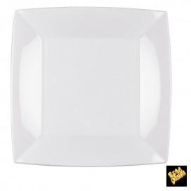 Plato de Plastico Llano Cuadrado Blanco 230mm (25 Uds)