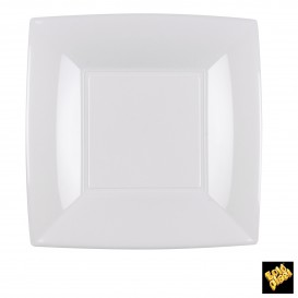 Plato de Plastico Llano Cuadrado Blanco 180mm (150 Uds)