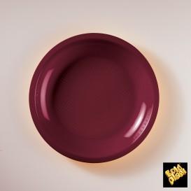 Plato de Plastico Llano Burdeos Round PP Ø220mm (300 Uds)