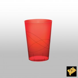 Vaso de Plastico Moon Rojo Transp. PS 230ml (50 Uds)