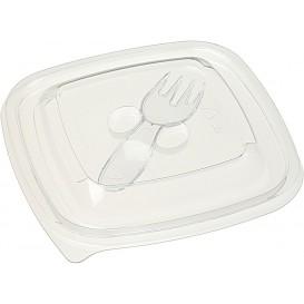 Tapa Plástico para Bol con Tenedor PET 125x125mm (500 Uds)