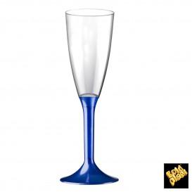 Copa de Plastico Cava con Pie Azul Perlado 120ml (200 Uds)