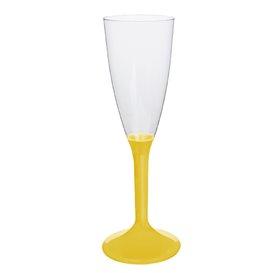 Copa de Plastico Cava con Pie Amarillo 120ml (200 Uds)