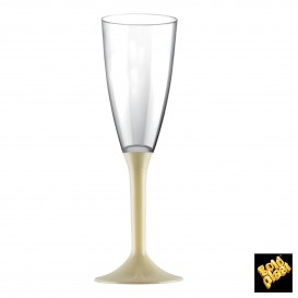 Copa de Plastico Cava con Pie Crema 120ml (200 Uds)