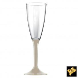 Copa de Plastico Cava con Pie Beige 120ml (20 Uds)