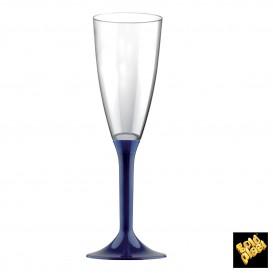 Copa de Plastico Cava con Pie Azul 120ml (20 Uds)
