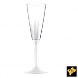 Copa de Plastico Cava con Pie Blanco 160ml (20 Uds)