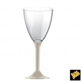 Copa de Plastico Vino con Pie Beige 180ml (200 Uds)