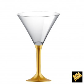 Copa de Plastico Cocktail con Pie Oro 185ml (20 Uds)